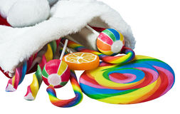 Colorful candy in a Christmas sock Royalty Free Stock Image
