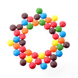 Colorful candy in a circle from above Stock Image