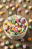 Colorful Candy Conversation Hearts. For Valentine's Day stock photo