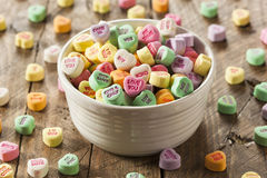 Colorful Candy Conversation Hearts. For Valentine's Day royalty free stock photography