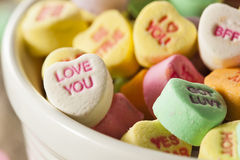 Colorful Candy Conversation Hearts. For Valentine's Day royalty free stock image