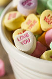 Colorful Candy Conversation Hearts. For Valentine's Day stock photography
