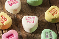 Colorful Candy Conversation Hearts. For Valentine's Day stock photos