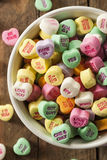 Colorful Candy Conversation Hearts. For Valentine's Day stock images