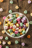 Colorful Candy Conversation Hearts. For Valentine's Day royalty free stock images