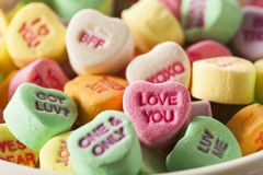 Colorful Candy Conversation Hearts. For Valentine's Day royalty free stock photos