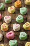 Colorful Candy Conversation Hearts. For Valentine's Day stock image