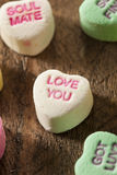 Colorful Candy Conversation Hearts. For Valentine's Day royalty free stock photo