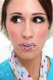 Colorful Candy Covered Lips on a Model Stock Image