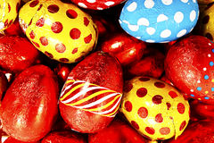 Colorful candy Easter eggs wrapped in foil Stock Photo