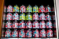 Colorful of Candy in a glass candy jar background Stock Photo