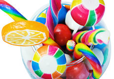 Colorful candy in a glass isolated Stock Image