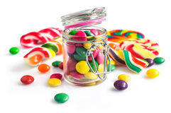 Colorful candy in a glass jar Royalty Free Stock Photos