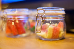 Colorful candy in glass jar. Sweet dessert for kid. Royalty Free Stock Image