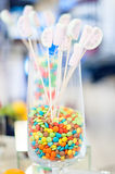 Colorful candy in a glass at a wedding party Royalty Free Stock Images