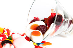 Colorful candy. In glass. white back ground Stock Images