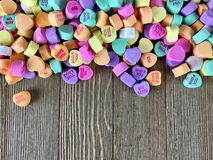 Colorful candy hearts royalty free stock image