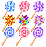 Colorful candy lollipops set of icons - the vortex of lollipops Stock Images