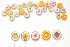 Colorful candy lollipops stock photos