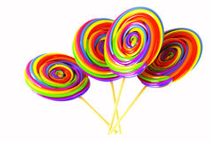 Colorful Candy Lolly. 3d image of colorful swirly candy lolly against white background Stock Images