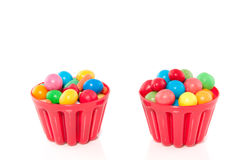 Colorful candy in red trays Royalty Free Stock Photography