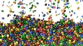 Colorful candy`s falling down from above with alpha channel stock video