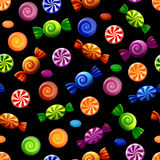 Colorful candy seamless pattern. Colored seamless texture with sweets on black background. Vector illustration Stock Photos