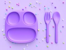 Colorful candy sphere 3d rendering Purple dish spoon fork. 3d rendering Purple dish spoon fork colorful candy sphere stock illustration