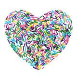 Colorful candy sprinkles heart isolated on white Royalty Free Stock Photo