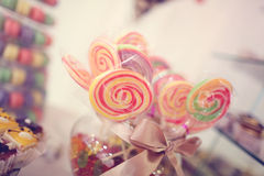 Colorful candy on sticks Stock Image