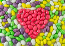 Colorful candy sweets red candy heart-shaped, background Royalty Free Stock Images