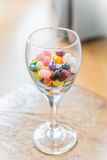 Colorful candy in Wine Glass Royalty Free Stock Photo