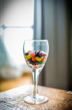 Colorful candy in Wine Glass Royalty Free Stock Photos