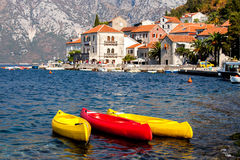 Colorful canoe in Perast city Stock Photography