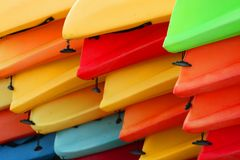 Colorful canoes. As abstract background Stock Photography