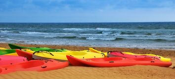 Colorful canoes Royalty Free Stock Photos