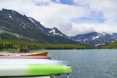 Rental Canoes at Many Glaciers Hotel, Montana Royalty Free Stock Photography