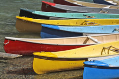 Colorful Canoes dock Royalty Free Stock Photo