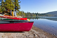 Colorful Canoes on Lake Shore Stock Photo