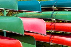 Colorful Canoes Stock Photos