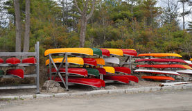 Colorful Canoes for sale Royalty Free Stock Photos
