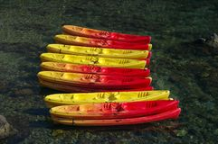 Color canoes Stock Photo