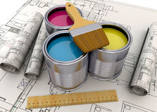 Colorful Cans - 3D. Colorful Cans and home project Stock Photography
