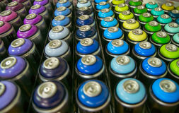 Colorful cans of paint Royalty Free Stock Photos