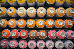 Colorful cans of paint Royalty Free Stock Images