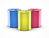 Colorful cans. On white background Royalty Free Stock Image