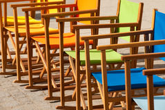 Colorful Canvas Chairs in Symmetry II Stock Photo