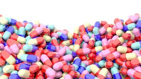 Colorful caplets with copy-space Stock Images