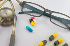 Colorful  capsule drug on white  background Royalty Free Stock Images