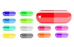 Colorful capsule icon set. Isolated on white background Royalty Free Stock Photos